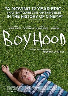 Boyhood is a 2014 American coming-of-age drama film written and directed by Richard Linklater and starring Patricia Arquette, Ellar Coltrane, Lorelei Linklater, and Ethan Hawke. The film was shot intermittently over a 12-year period from May 2002 to October 2013, showing the growth of a young boy and his older sister to adulthood.