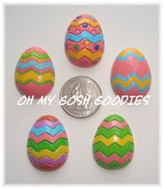 5 Piece Set CHEVRON EASTER EGG Resins  Oh My by omygoshgoodies