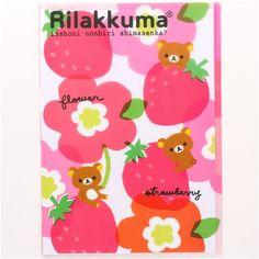Rilakkuma bear strawberry A4 plastic file folder 3-pocket