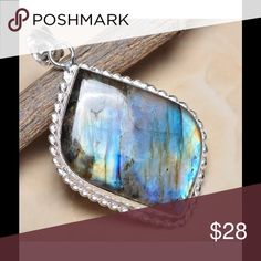 """Sterling Fire Labradorite 2.25"""" Pendant Beautiful opalescent shades of blue, turquoise, greens, and golden yellows are captured in this unusual natural gemstone!  Pendant is mounted in .925 Sterling silver, is rhomboid shaped and is 2.25"""" long.  Large bale will accommodate most chains and cords.  NWOT Artisan Jewelry Necklaces"""