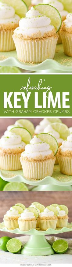 Key Lime Cupcakes - light, fluffy cupcakes full of key lime flavor! With lime juice and zest, topped with a tangy sweet lime frosting and graham cracker crumbs. Key Lime Cupcakes, Fluffy Cupcakes, Tropical Cupcakes, Gigi's Cupcakes, Key Lime Cake, Buttercream Cupcakes, Cupcake Flavors, Cupcake Recipes, Baking Recipes