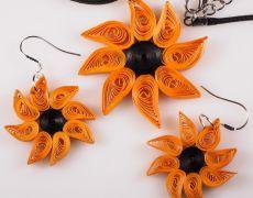 Cercei si medalion hand-made Quilling - Floarea Soarelui