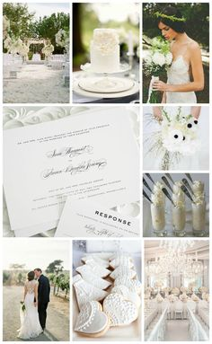All white wedding inspiration - Script wedding invitations, lace dress, white cake, chandelier