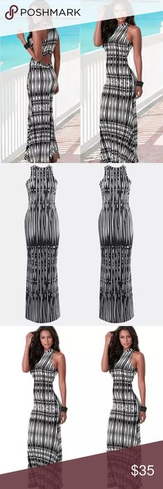 The Eva Mandes sexy maxi dress Haltered look black and white Cotten blend maxi dress. Opening in back to make it look like 2 pieces. Please refer to size chart when ordering Dresses Maxi