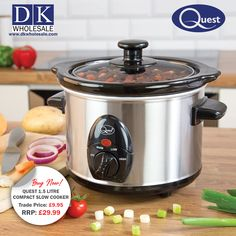 Quest Compact Slow Cooker - 1.5 litres, stainless steel allows you to make delicious home-cooked meals with minimal effort, saving you time along the way. The pot holds up to 1.5 litres of foods and liquids, making it ideal for solo cookers, or small families of 2 or 3. The main pot that holds the food within the slow cooker has the capacity to be removed from the main body of the unit, allowing you to place it on a table and serve hot food straight from the bowl. Domestic Appliances, Cooking Appliances, Fruit Juicer, Teppanyaki, Pot Roast, A Table, Food Processor Recipes, Slow Cooker, Compact