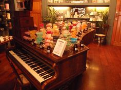 Handmade soaps on a grand piano. Yorkshire Soap Co. Photograph by Alison Chambre.