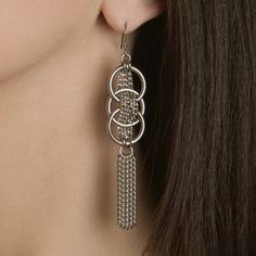 Rapt In Maille | Handmade Chainmaille Jewelry by Melissa Banks | Stainless Steel | Chicago — WOVEN Medium Pattern Earrings