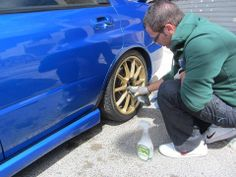 making light work of brake dust on these Subaru alloy wheels with Pearl Universal Cleaner. LIKE us on FB http://on.fb.me/1duQlnZ #pearlcarcare #buyinbulk #waterlesscarwash Visit @ http://pearlwaterlessinternational.com/