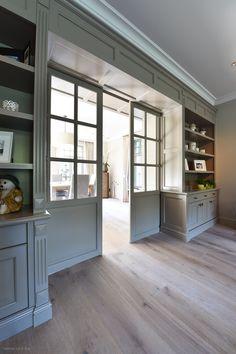 Pocket doors between dining room and kitchen. Küchen Design, Door Design, House Design, Interior Design, Home Libraries, Home Office Design, Home Renovation, Great Rooms, Family Room
