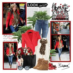 Look for less - Beyoncé by helleka on Polyvore featuring polyvore, fashion, style, Mossimo, H&M, Zara, Jeepers Peepers, Maybelline, mae, Alain Quilici, Disney, clothing, skinny jeans, wayfarer sunglasses, leopard print, wedge sneakers, blazers, tote bags, ruffled scarves and sleeveless blouses