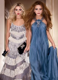 MKA MARY KATE ASHLEY OLSEN  BADGLEY MISCHKA CAMPAIGN GREY GRAY WHITE LACE TIERED GOWN SILVER EMBELLISHED BLUE SILK DRAPEY GOWN EMBELLISHED SILVER HALTER NECK MAKE UP BEAUTY BIG HAIR