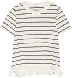 CLU Satin-Trimmed Striped Cotton-Blend Jersey T-Shirt