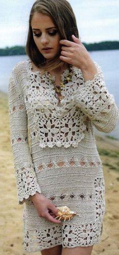 vestido de crochet vestido LnyaLnyanoe kryuchkomnoe