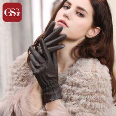 2016 Brand Ladies Dressing Genuine Leather Gloves Women Soft Comfortable Lambskin Gloves Purple Black Brown Winter Gloves