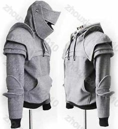 Light Gray Armored Knight Custome Hoodie Sweats 100 Handmade Made to Order   eBay  OR  https://www.etsy.com/listing/150504396/duncan-armored-knight-hoodie100-handmade?ref=shop_home_feat_1&favorite_listing_id=150504396&show_panel=true