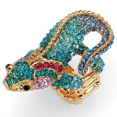 Lillith-Star-14k-Goldplated-Multi-colored-Crystal-Gecko-Stretch-Ring-L14195318.jpg (1168×1168)