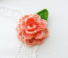 HAND CROCHET PEACH FLOWER ROSE BROOCH APPLIQUE DECORATION, GIFT in Crafts, Needlecrafts & Yarn, Crocheting & Knitting | eBay