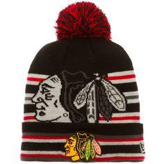 Chicago Blackhawks Striped Primary Logo Knit Pom Hat by New Era #Chicago #Blackhawks #ChicagoBlackhawks
