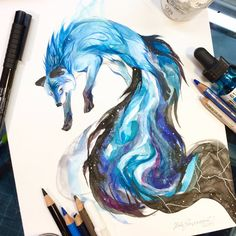 DeviantArt is the world's largest online social community for artists and art enthusiasts, allowing people to connect through the creation and sharing of art. Cute Animal Drawings, Animal Sketches, Pencil Art Drawings, Art Sketches, Amazing Drawings, Cool Drawings, Watercolor Fox, Mythical Creatures Art, Art Prompts