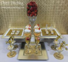 Gold New Year's party dessert table!  See more party planning ideas at CatchMyParty.com!