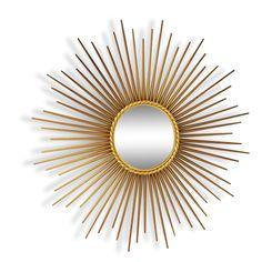 Miroir soleil Chaty Vallauris des années 50-60. vendu par LampAndCo - Moret sur Loing (77 - Seine-et-Marne). Hauteur : 70, Largeur : 70, État : Bon état, Materiau : Métal, Style : Design, Couleur : Doré