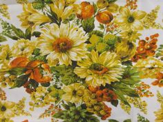Sunflower Vintage Fabric 60's Floral Fabric Heavy by JaysTreasures