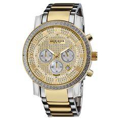 Akribos XXIV Men's Large Dial Diamond Quartz Chronograph Bracelet Watch - Overstock Shopping - Big Discounts on Akribos XXIV Akribos XXIV Men's Watches