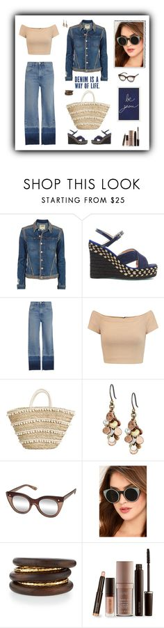 """""""Denim and Nude"""" by sherry7411 ❤ liked on Polyvore featuring L'Agence, 3x1, Alice + Olivia, Lucky Brand, Le Specs Luxe, Spitfire, NEST Jewelry, Laura Mercier and Pottery Barn"""