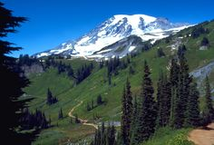 Mount Rainier National Park encompasses the greatest single-peak glacial system in the United States that radiates from the summit and slopes of an ancient volcano, with dense forests and subalpine flowered meadows below.