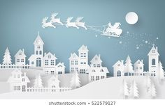 Merry Christmas and Happy New Year. Illustration of Santa Claus on the sky coming to City ,paper art and digital craft style Best Picture For Eco city concept architecture For Your Taste You are looki 3d Christmas, Christmas Paper Crafts, Merry Christmas And Happy New Year, Christmas Images, Abstract Wallpaper, City Vector, Vector Art, Vector Graphics, New Year Illustration