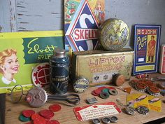 """Big lot of vintage """"junk drawer"""" items - Ephemera, trinkets, pins, bottle caps, watch parts, tax tokens, and much more"""