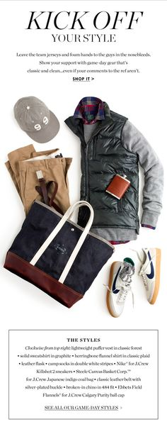 Needs more green and white, but still pretty slick. | JCrew.com Gents Fashion, Only Fashion, Ivy Style, Preppy Girl, Elegant Man, J Crew Men, Autumn Fashion Casual, Fashion Essentials, Leather