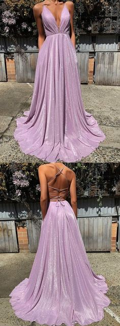 Spaghetti Strap Plunging V Sequin Long Prom by PrettyLady on Zibbet