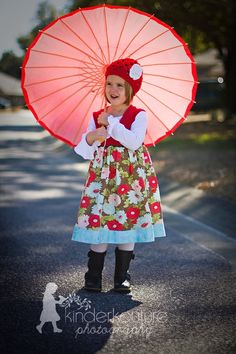 flower dress - boots - red umbrella