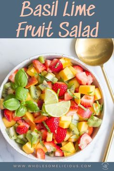 Summer's most delicious fruits are combined in this Basil Lime Fruit Salad that makes a perfect addition to any BBQ or picnic!