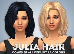lilsimsie faves — ivo-sims: Julia Hair Comes in all EA colors + 18...