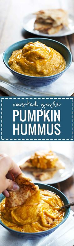 This Roasted Garlic & Rosemary Pumpkin Hummus has amazing flavor and just 100 calories! Takes 5 minutes and you can serve it with pita bread, veggies, and other snacks