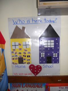 Who is here today??? Chart. This would be great to use with my DI kids so they can see their picture and the correlation between home and school :)