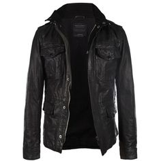 Seville Leather Jacket ($550) ❤ liked on Polyvore featuring men's fashion, men's clothing, men's outerwear, men's jackets, jackets, men, outerwear, tops, mens military jacket and mens slim fit leather jacket