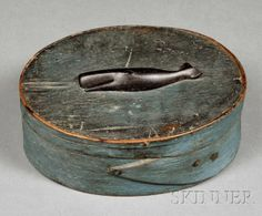 Blue-painted Oval Covered Box with Carved Ebony Whale, Nantucket, 19th century