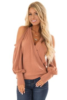 64490a30ae41a Lime Lush Boutique - Latte Cold Shoulder V Neck Bishop Sleeve Sweater