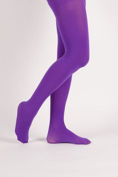 Solid Color Opaque Tights - Purple - Thumbnail 2