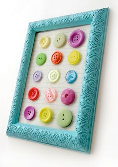 Fun wall decor for a sewing, craft or laundry room. I have some interesting antique buttons to use. Use any color of frame and I think I would put scrap book paper or felt behind them.