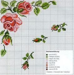 cross stitch rose motif