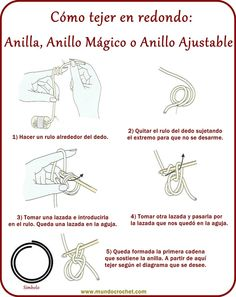 Anilla, anillo ajustable o anillo mágico - Adjustable ring, magic ring - крючком…