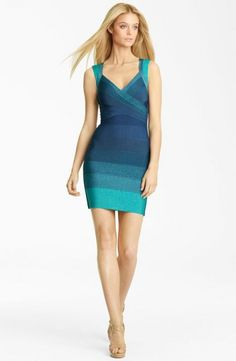 Herve Leger Ombre Bandage Dress Bright Aqua Combo
