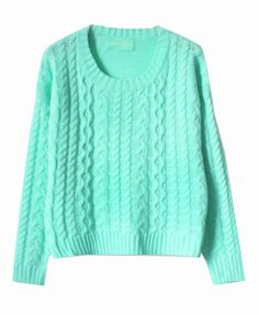 Pretty blue Long Sleeves Twist Knit Pullover - Clothing
