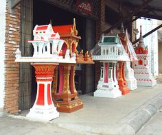 Discarded spirit houses at Wat Nong Bua, Ubon Ratchathani, Thailand