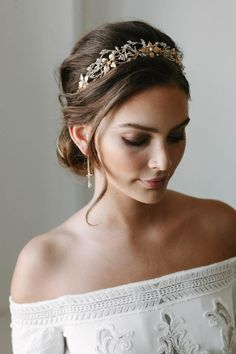 3a052452c25 ROSEBURY beaded crystal wedding crown gold wedding crowns