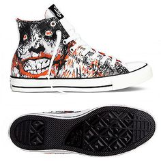 ab11f0bc7cee Converse Joker Sketch All Star Chuck Taylor DC Comics White Red Sneakers